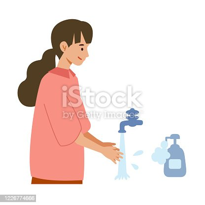 Vector illustration of people combating the coronavirus. New norms for prevent the spread of COVID-19. Washing hands with soap.