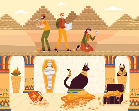 Vector illustration of people looking for the entrance to the Egyptian pyramid.
