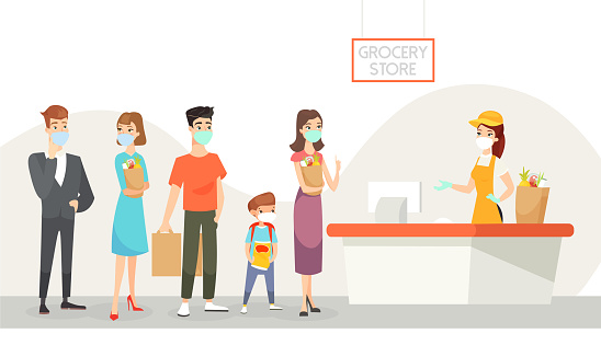 Vector illustration of people wearing masks staying in line in grocery shop. Shopping during quarantine, keep distance, selfcare concept. Coronavirus epidemic and healthcare, cartoon characters.
