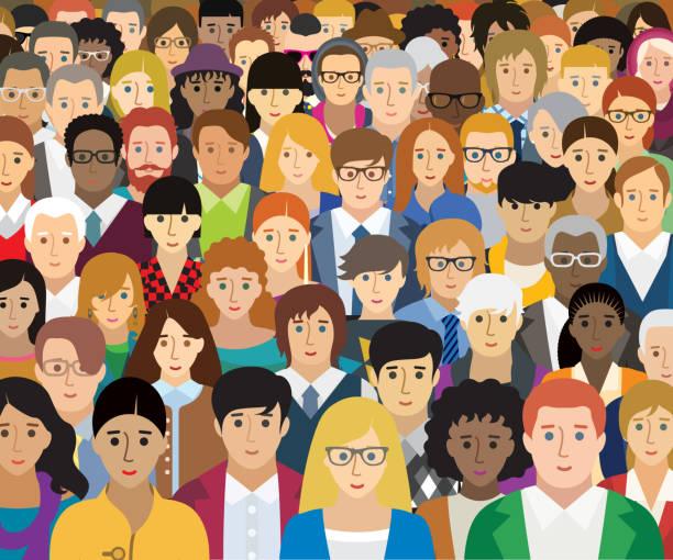 stockillustraties, clipart, cartoons en iconen met vector illustratie van mensen met verschillende kenmerken. elk personage is individueel en wordt niet herhaald in de illustratie. (optie gezicht) - grote groep mensen