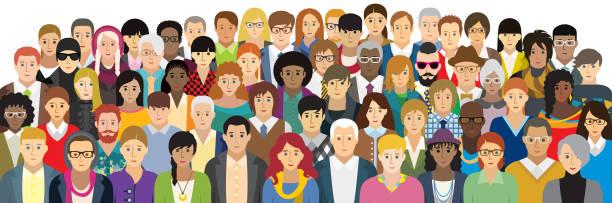 stockillustraties, clipart, cartoons en iconen met vector illustratie van mensen met verschillende kenmerken. (optie gezicht) - grote groep mensen