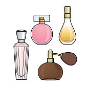 Vector illustration of perfume isolated on white background. Clothing costumes and accessories concept. Cartoon characters. Education and school kids coloring page, printable, activity, worksheet, flashcard.