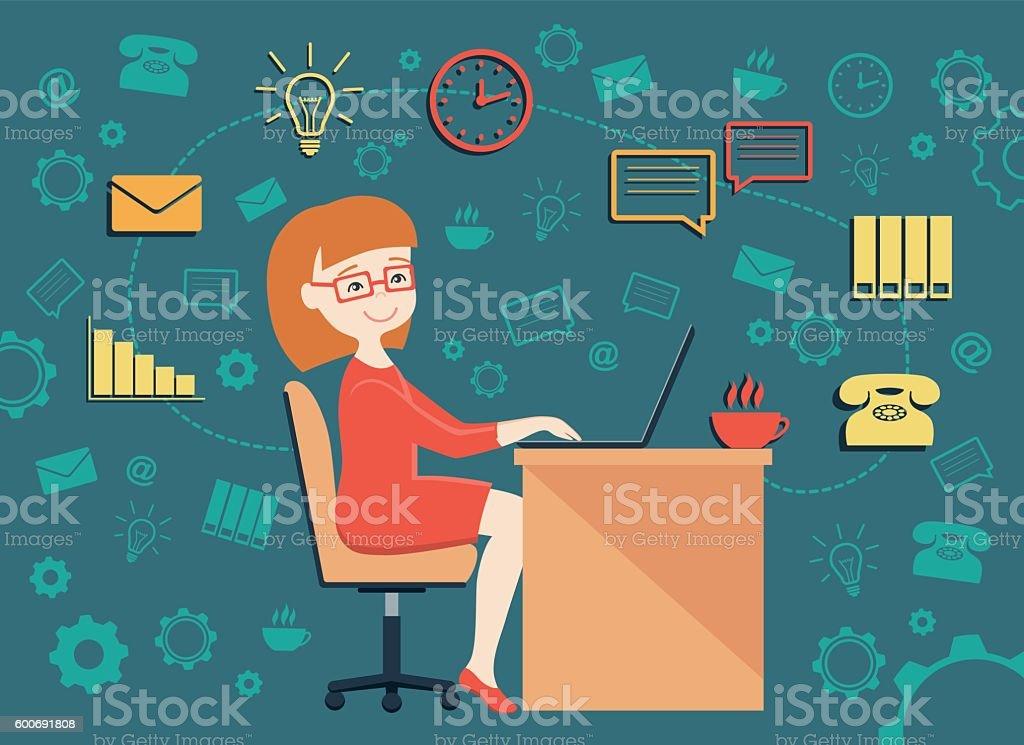 vector illustration of personal assistant vector art illustration