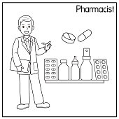 istock Vector illustration of pharmacist isolated on white background. Jobs and occupations concept. Cartoon characters. Education and school kids coloring page, printable, activity, worksheet, flashcard. 1319334420