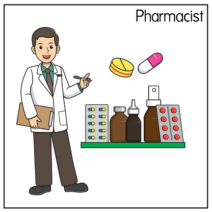 Vector illustration of pharmacist isolated on white background. Jobs and occupations concept. Cartoon characters. Education and school kids coloring page, printable, activity, worksheet, flashcard.