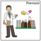 istock Vector illustration of pharmacist isolated on white background. Jobs and occupations concept. Cartoon characters. Education and school kids coloring page, printable, activity, worksheet, flashcard. 1319334424