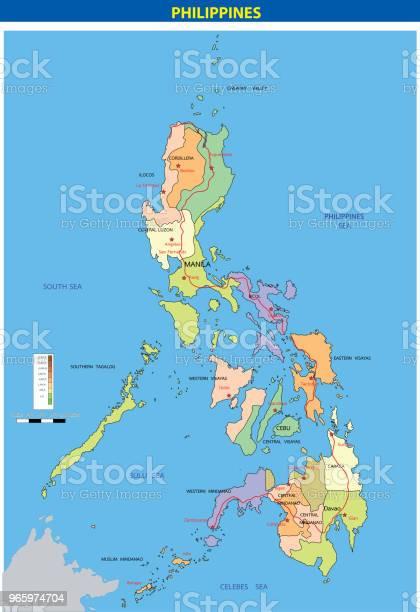 Vector Illustration Of Philippinesphysicalmap - Arte vetorial de stock e mais imagens de Abstrato