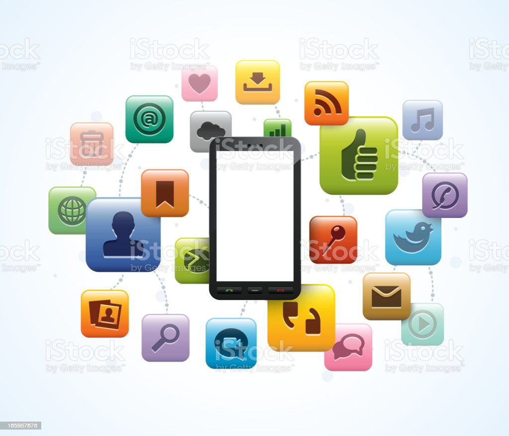 Vector illustration of phone with app icons royalty-free stock vector art