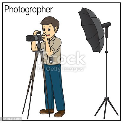 istock Vector illustration of photographer isolated on white background. Jobs and occupations concept. Cartoon characters. Education and school kids coloring page, printable, activity, worksheet, flashcard. 1319334454