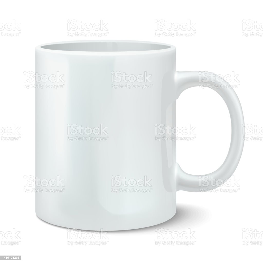 Vector illustration of photorealistic white cup vector art illustration