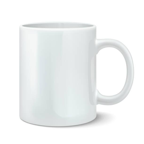 Vektor-illustration von fotorealistischen weiß cup – Vektorgrafik