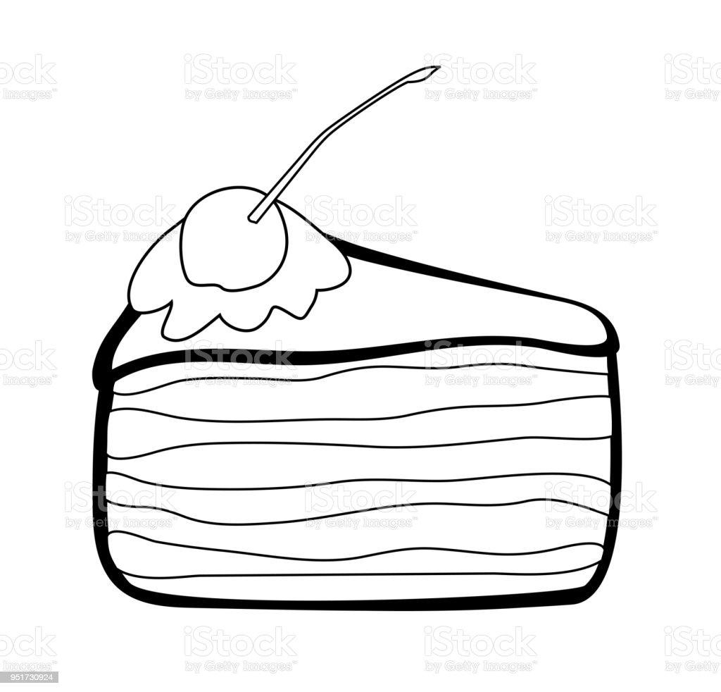 Vektorillustration Stuck Kuchen Stock Vektor Art Und Mehr Bilder Von