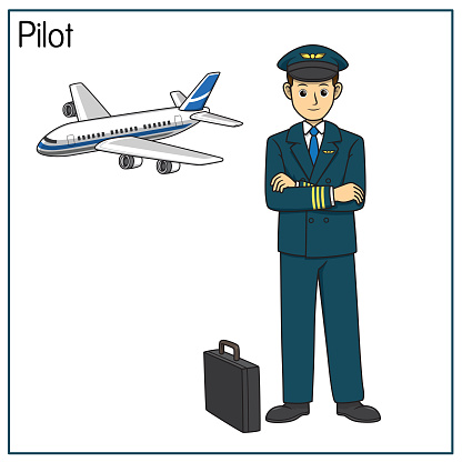 Vector illustration of pilot isolated on white background. Jobs and occupations concept. Cartoon characters. Education and school kids coloring page, printable, activity, worksheet, flashcard.