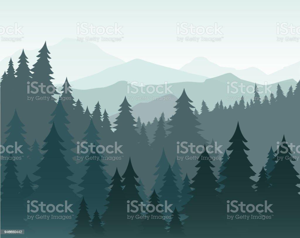 Ilustración de vector de pino de bosque y montañas de fondo vector. Bosque de coníferas, silueta de abeto y montañas en el paisaje de niebla. - ilustración de arte vectorial