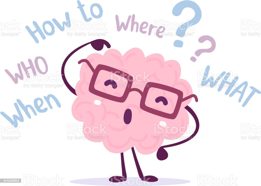Vektorillustration Des Menschlichen Gehirns Rosa Farbe Mit Brille ...
