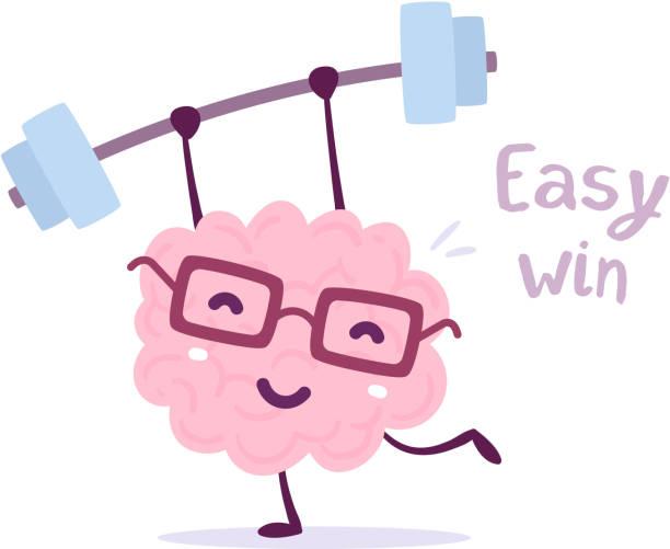 illustrazioni stock, clip art, cartoni animati e icone di tendenza di vector illustration of pink color smile brain with glasses easy lifts weights on white background. fitness cartoon brain concept. - facilità