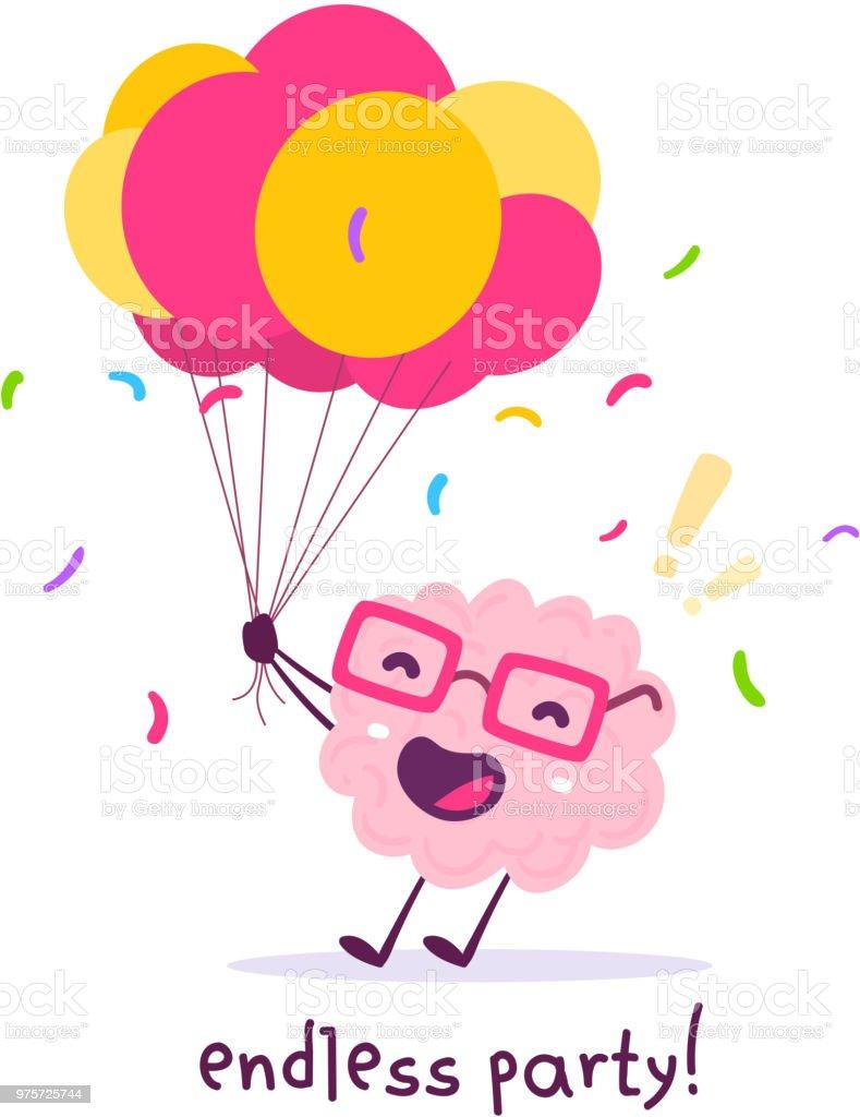 Vektor-Illustration von rosa Farbe Lächeln Gehirn mit Brille hält Haufen Luftballons auf weißem Hintergrund. Feier Party Cartoon Gehirn Konzept. - Lizenzfrei Achtsamkeit - Persönlichkeitseigenschaft Vektorgrafik