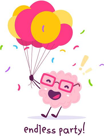 Vektorillustration Von Rosa Farbe Lächeln Gehirn Mit Brille Hält Haufen Luftballons Auf Weißem Hintergrund Feier Party Cartoon Gehirn Konzept Stock Vektor Art und mehr Bilder von Achtsamkeit - Persönlichkeitseigenschaft
