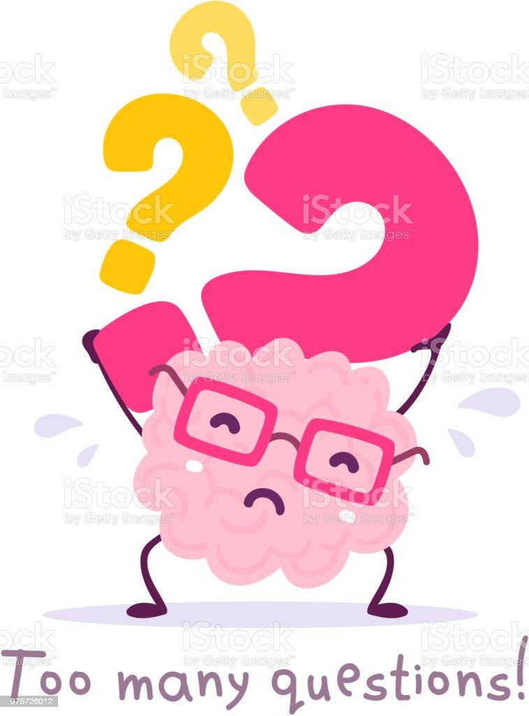 Vektor-Illustration von rosa Farbe Lächeln Gehirn mit Brille hält Fragezeichen auf weißem Hintergrund. Sehr starke Cartoon Gehirn Konzept. - Lizenzfrei Achtsamkeit - Persönlichkeitseigenschaft Vektorgrafik