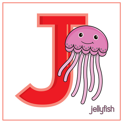 Vector illustration of Pink Jellyfish isolated on a white background. With the capital letter J for use as a teaching and learning media for children to recognize English letters Or for children to learn to write letters Used to learn at home and school.