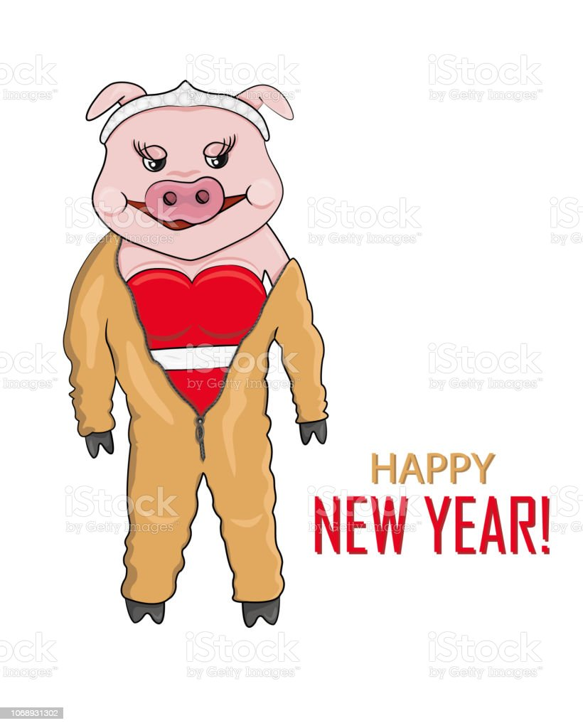 Ilustración de vector de cerdo rosa mono amarillo-tierra para año nuevo - ilustración de arte vectorial
