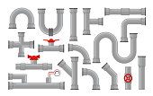 Vector illustration of pipes, types for water collection. Steel and plastic connectors, pipes in grey color with red valves in flat style isolated on white background