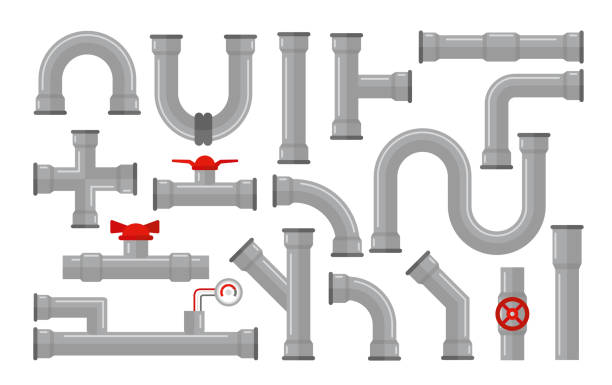 Vector illustration of pipes, types for water collection. Steel and plastic connectors, pipes in grey color with red valves in flat style isolated on white background. Vector illustration of pipes, types for water collection. Steel and plastic connectors, pipes in grey color with red valves in flat style isolated on white background tube stock illustrations