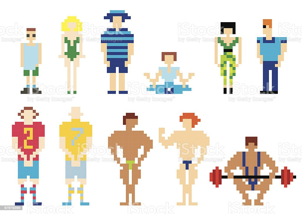 vector illustration of pixel people for web. set 3 royalty-free vector illustration of pixel people for web set 3 stock vector art & more images of abstract