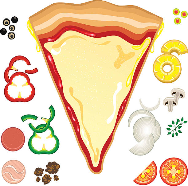 Vector Illustration Of Pizza With Toppings Around Art