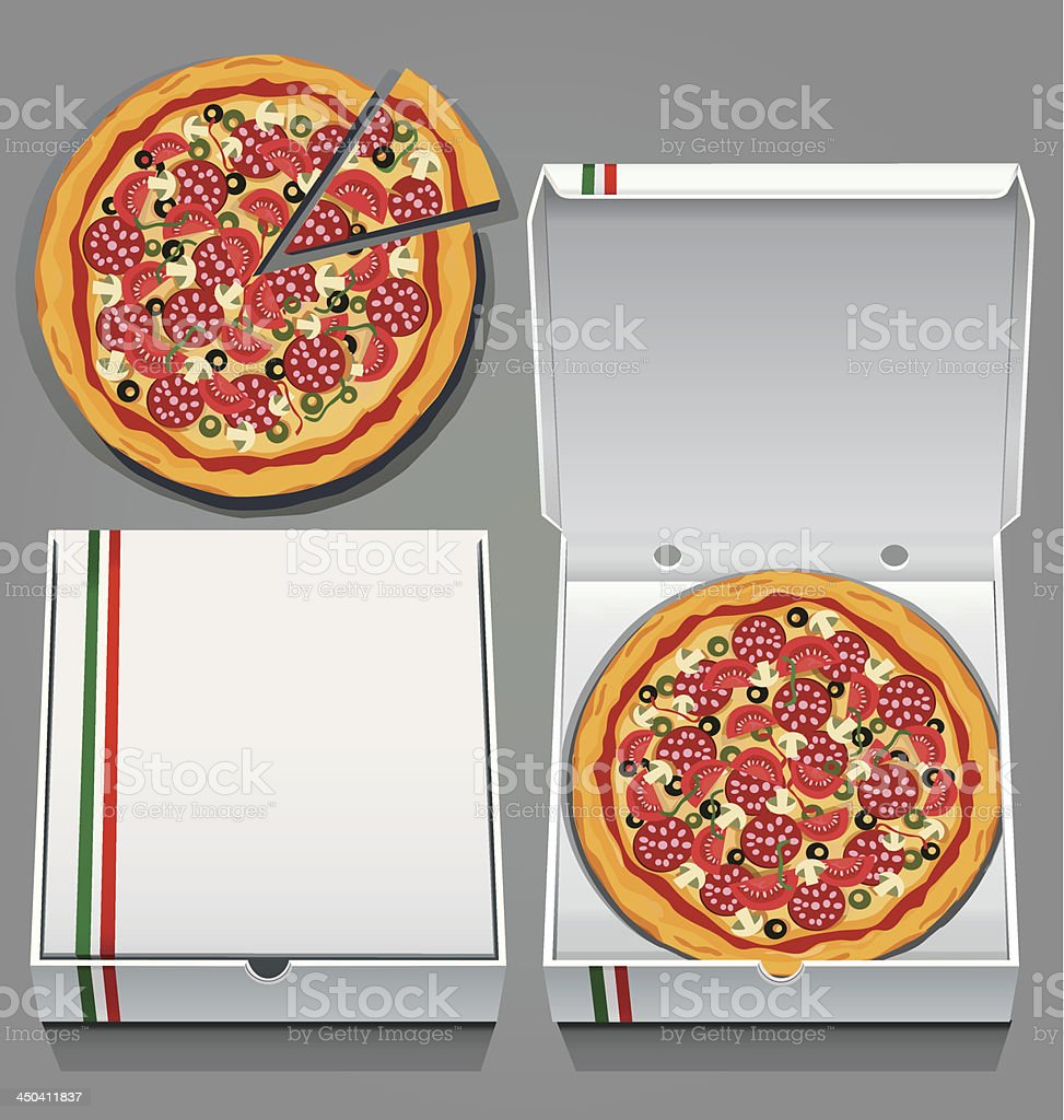 Vector illustration of pizzas and boxes royalty-free stock vector art