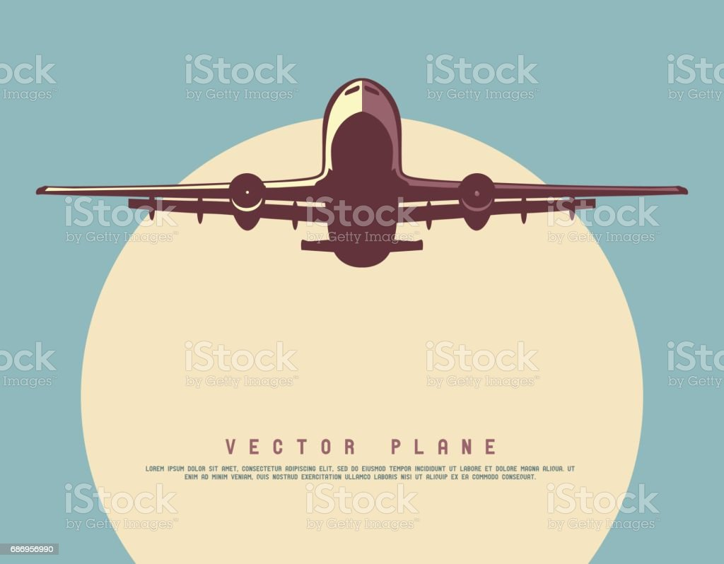 Vector illustration of plane on sunny sky.