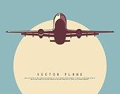 Vector illustration of plane on sunny sky.