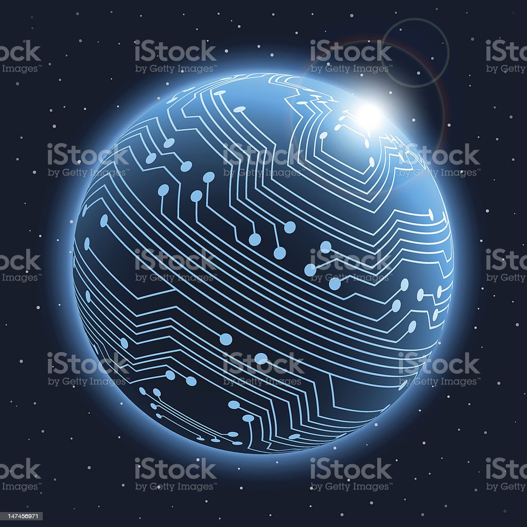 Vector illustration of planet with circuit board patterns royalty-free stock vector art
