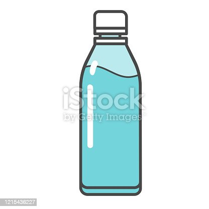 Vector illustration of plastic bottle with water and sports drink
