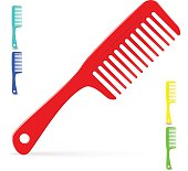 Vector illustration of plastic hair comb for long hair