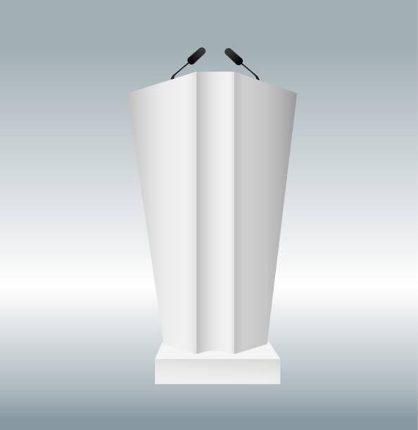 vektor-illustration der podium tribüne mit mikrofonen auf transparenten hintergrund isoliert. kunst design podium steht. abstrakter begriff grafikelement für business-präsentation, konferenz. - standlautsprecher stock-grafiken, -clipart, -cartoons und -symbole
