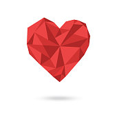Vector illustration of polygonal red heart shape on white background