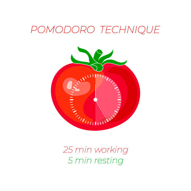 Vector Illustration of Pomodoro Technique, Time Management Concept, Clock Face on Tomato. Vector Illustration of Pomodoro Technique, Time Management Concept, Clock Face on Tomato on White Background. tomato sauce stock illustrations