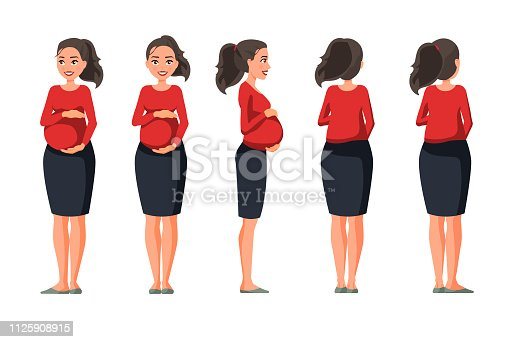 istock Vector illustration of pregnant woman in casual clothes under the white background.Cartoon realistic people illustration.Flat young woman.Front view girl,Side view girl,Back side view girl, Isometric 1125908915