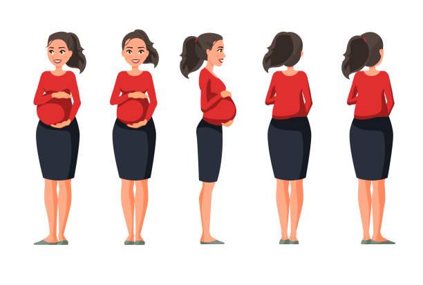 vektor-illustration der schwangeren frau in freizeitkleidung unter dem weißen hintergrund. cartoon realistische menschen abbildung. flache junge frau. vorderansicht mädchen, seite ansicht mädchen, rücken seite ansicht mädchen, isometrische - menschliches körperteil stock-grafiken, -clipart, -cartoons und -symbole