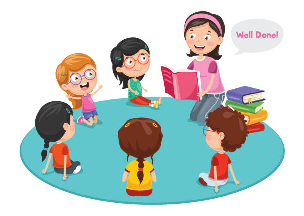 ilustrações, clipart, desenhos animados e ícones de ilustração em vetor de crianças prées-escolar - professor de pré escola