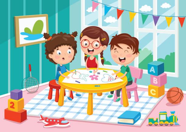 vector illustration of preschool children - preschool stock illustrations