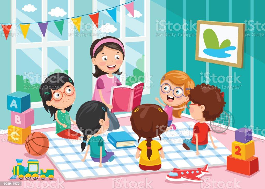 Vector Illustration Of Preschool Children vector art illustration