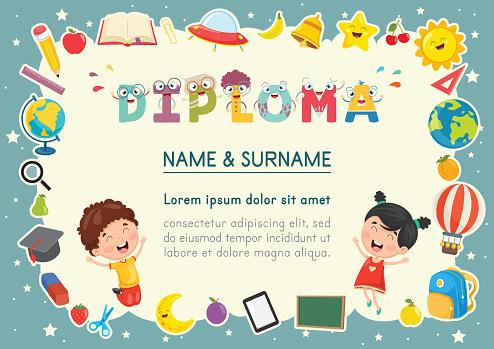 Vector Illustration Of Preschool Kids Diploma