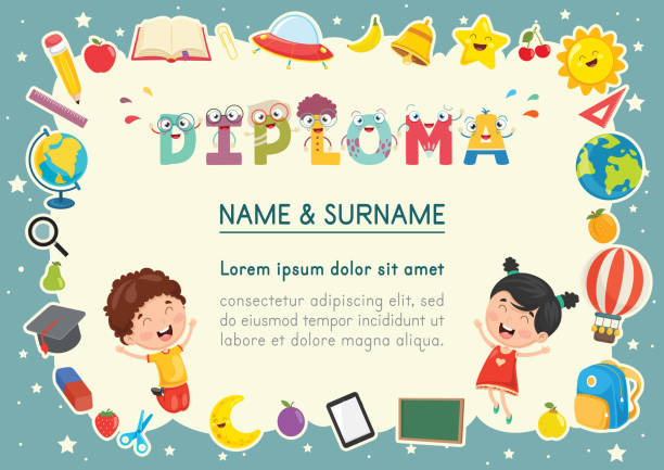vector illustration of preschool kids diploma - przedszkole stock illustrations