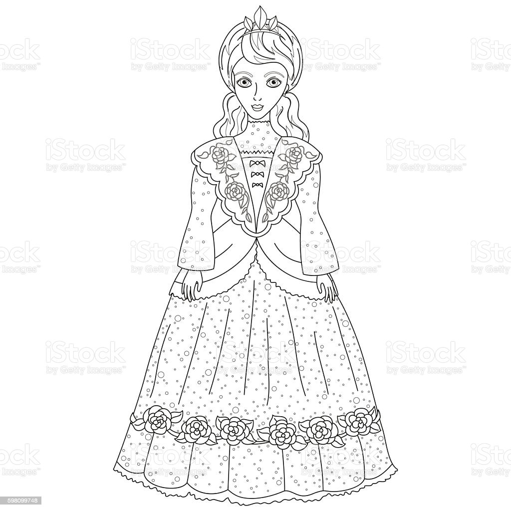 Vector illustration of princess in ancient dress, coloring book - ilustração de arte vetorial
