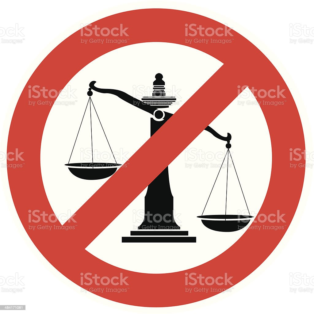 Vector Illustration of Prohibition traffic sign no justice - Royalty-free Balance stock vector