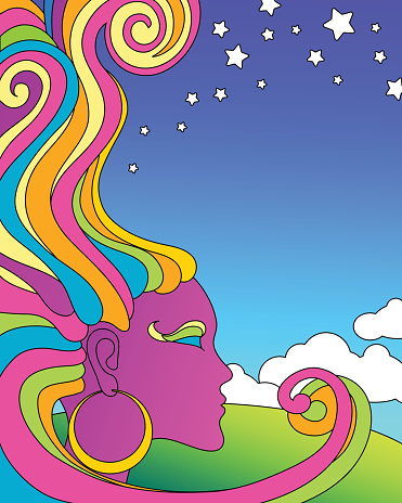 vector illustration of psychedelic 1960's pop art poster template.