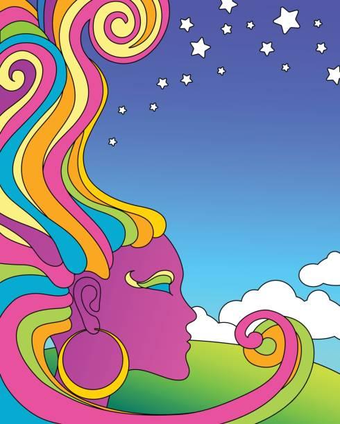 vector illustration of psychedelic 1960's pop art poster template. vector art illustration