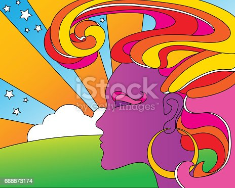 vector illustration of psychedelic 1960's pop art woman